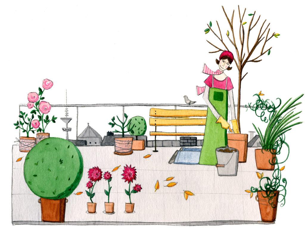 Gärtnerin auf ihrer Garten-Terasse