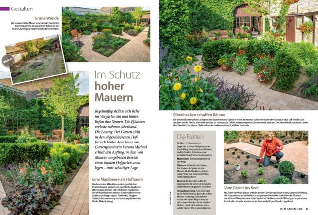 Fotos verschiedener Gartenbereiche eines neu geplanten Hofgartens