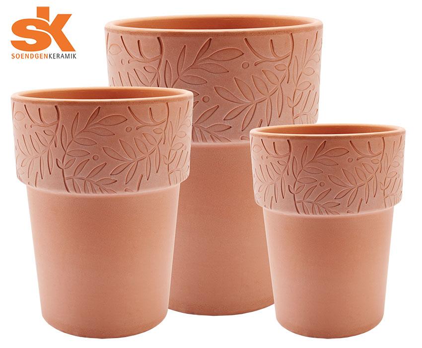 Preis 4 x 3 Dekorative Terrakottagefäße von Soendgen Keramik